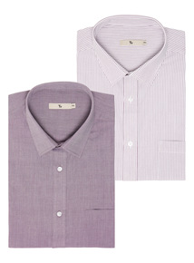 Purple Stripe Easy Iron Tailored Shirts 2 Pack