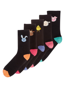 Animal Placement Ankle Socks 5 Pack