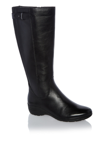 Black Long Sole Comfort Leather Boots