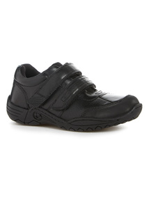 Black Leather Velcro Shoes