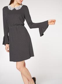 Black Dotty Lace Peter Pan Collar Dress