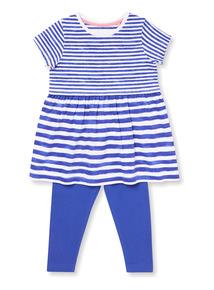 Blue Stripe Dress and Leggings Set (9 months-6 years)
