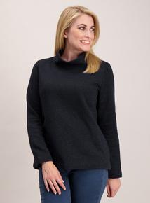 Navy Blue Mottled Roll Neck Sweatshirt