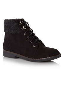 Black Knitted Cuff Boots