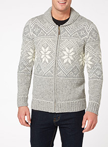 Grey Fairisle Zip Through Cardigan