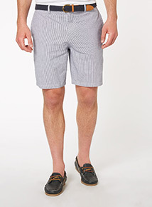 Blue Belted Stripe Chino Shorts