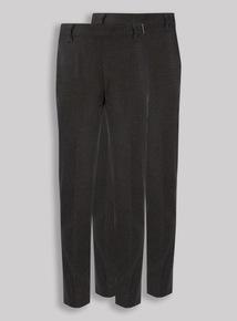 2 Pack Girls Grey Longer Leg Trousers (3-12 years)