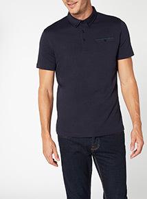 Navy Contrast Trim Polo Shirt