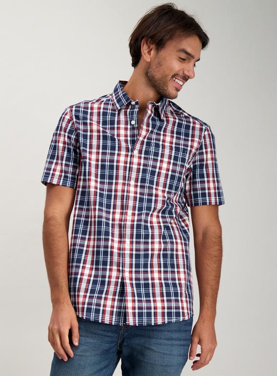 94387ae7c Menswear Navy   Red Check Regular Fit Shirt
