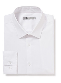 White Long Sleeve Slim Fit Shirt With Stretch