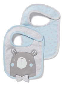 2 Pack Blue Bear Bibs