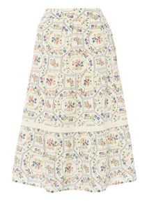 Cream Floral Tiered Skirt