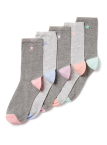 5 Pack Star Embroidered Socks