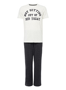 Charcoal 'Not Getting Out Of Bed Today' Slogan Pyjama Set