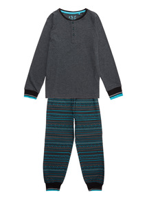 Grey Aqua Marl and Fairisle Pyjama Set (4-14 years)