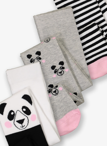 Multicoloured Panda Tights 3 Pack (1-12 years)