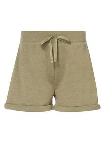 Khaki Embroidered Sweat Shorts