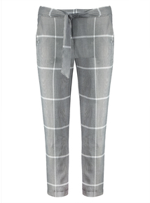 Grey Check Tapered Leg Trousers