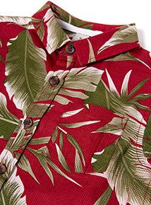 Dark Red Leaf Print Shirt (3-14 years)