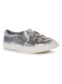 Silver Glitter Skater Shoes (10 Infant-Size 4)
