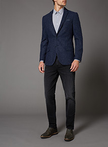 Blue Slim Fit 100% British Wool Jacket