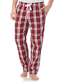 Red Poplin Check Lounge Bottoms