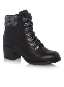 Black Block Heeled Hiker Boots