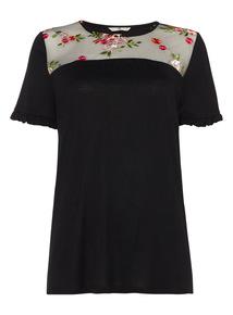 Black Embroidered Tee