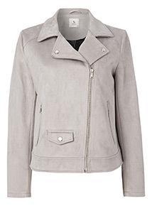 Grey Suedette Biker Jacket