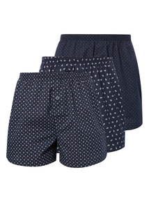 Navy Geo Woven Boxer 3 Pack