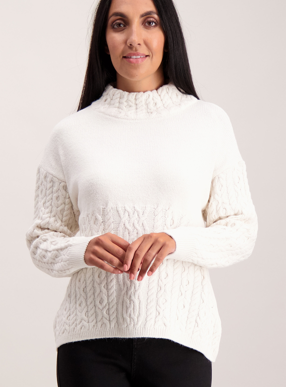 Cream Cable Knit Swing Jumper