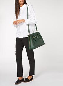 Dark Green Winged Saffiano Bag