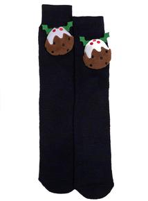 Christmas Navy Blue Pudding Slipper Socks