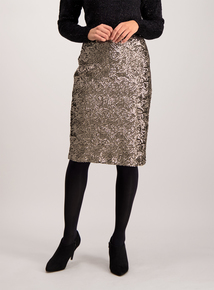 Bronze Sequinned Pencil Skirt