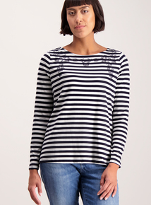 Navy Floral Embroidered Striped Top