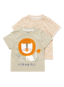 Green 2 Pack Animal T-Shirts (0-24 months)