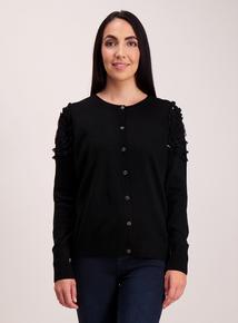 Black Sequin Shoulder Cardigan