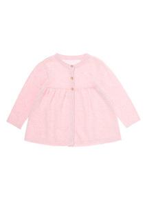 Girls Pink Fine Gauge Cardigan (0-12 months)