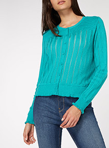 Teal Pointelle Cardigan