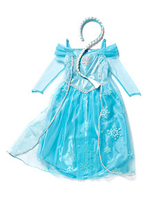 Kids Blue Disney Frozen Elsa Sound And Light Costume