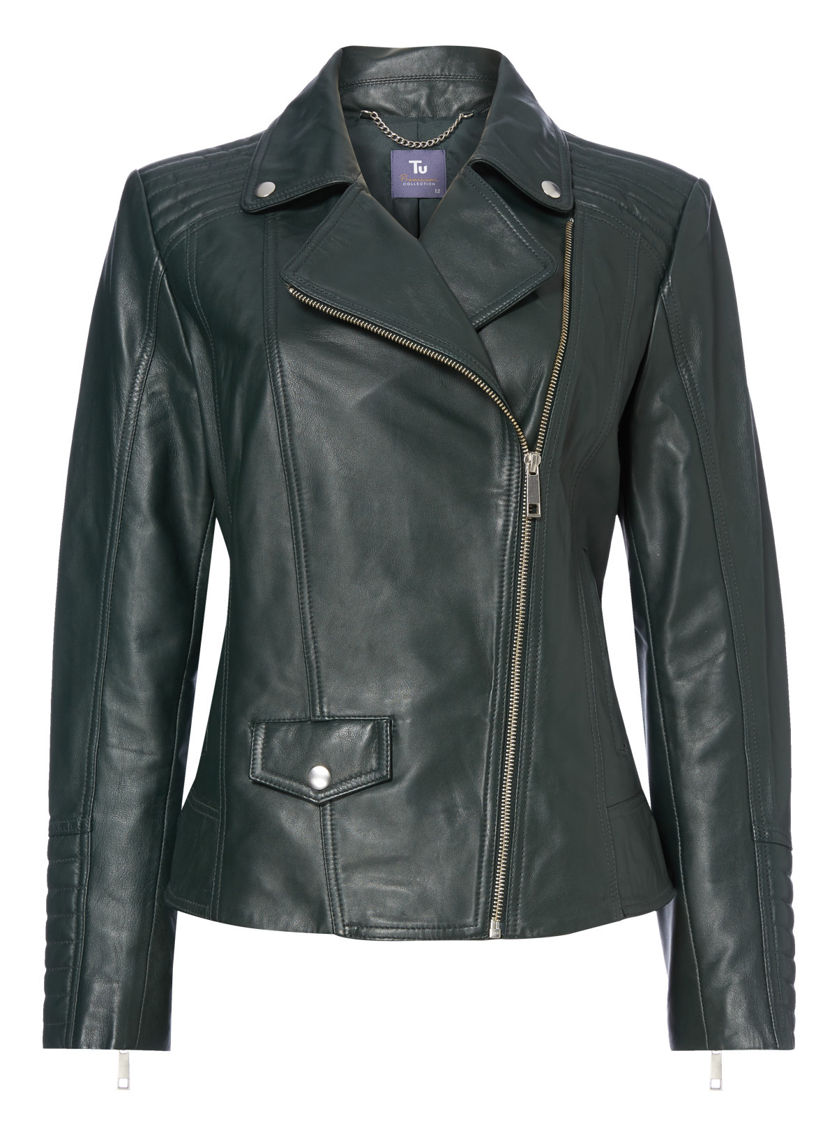 Womens Premium Green Leather Jacket | Tu clothing
