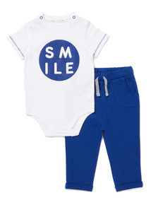 White Smile Body and Joggers Set (0-24 months)