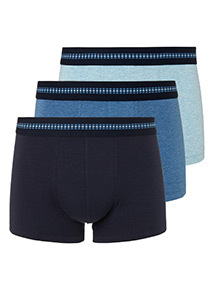 3 Pack Blue Jacquard Hipster Briefs