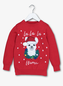 Christmas Red La La La Llama Jumper (3-12 Years)