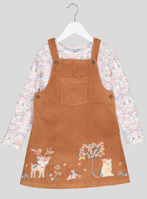 Tan Embroidered Pinafore and Top Set (9 months- 6 years)