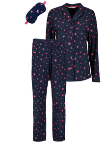 Christmas Navy Star Print Pyjamas