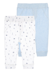 White Nautical Joggers 2 Pack (0 - 12 months)