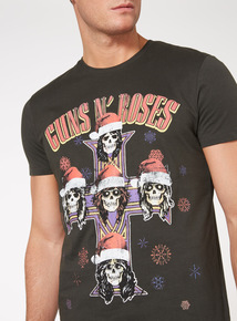 Black Christmas Guns And Roses Tee