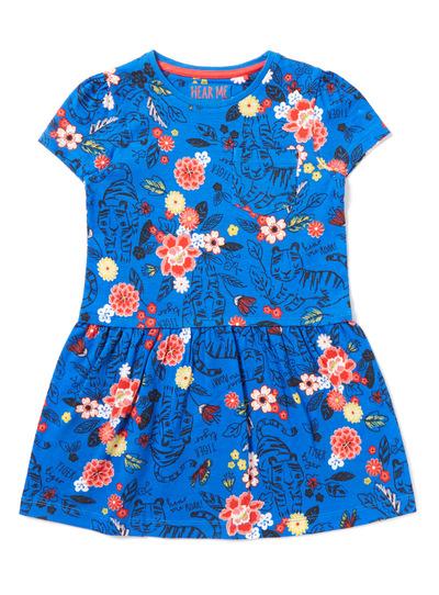 9a095f41c5e3 Kids Blue Floral Safari Print Jersey Dress (9 months-6 years)