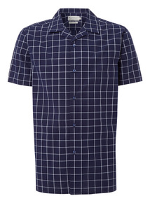 Navy Window Pane Revere Collar Shirt